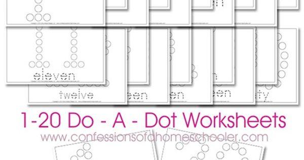 Free 1-20 Do-A-Dot Number Printable Worksheets