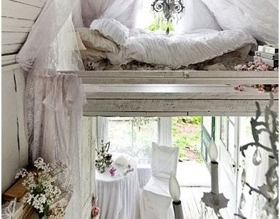 Vintage White Cottage Decor; i want a guest house like this!