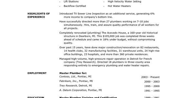 plumber resume sample cover letter journeyman electrician pdf - plumber resume