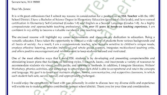 esl  english as a second language teacher cover letter