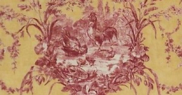 Fabric Waverly La Petite Ferme Ruby Red Yellow Rooster Toile Drapery 54 Bty Toile Fabric Toile Pattern Fabric Yard