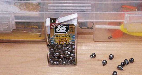 Put sinkers in old tic tac containers the flip top aids for Sodium fishing gear