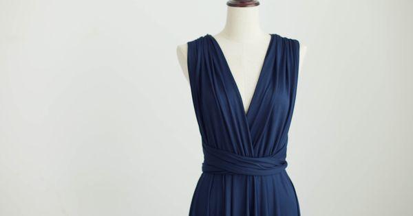 Bleu marine demoiselle d 39 honneur robe infinity robe jersey for Robes de demoiselle d honneur mariage marine