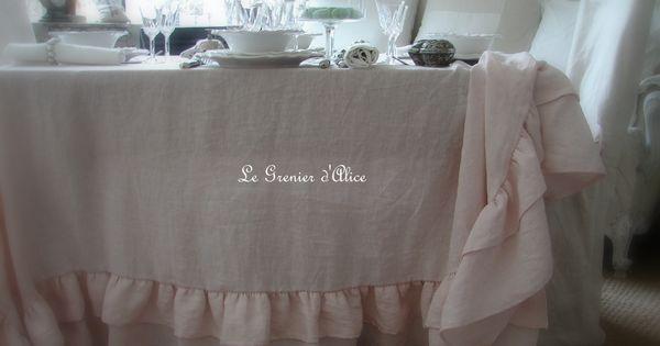 nappe en lin rose poudr shabby chic et romantique romantic tablecloth pinterest shabby. Black Bedroom Furniture Sets. Home Design Ideas