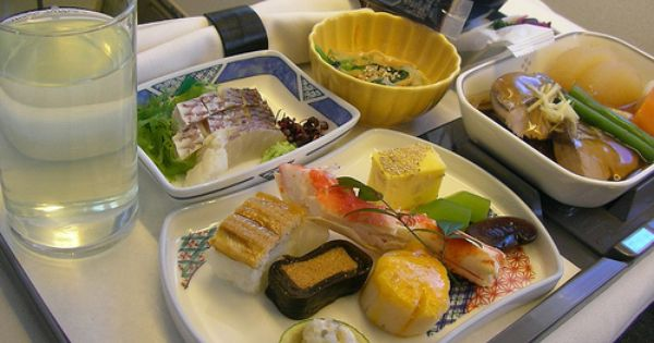 Had A Meal Like This On United Business Class Flight To Narita The One Portion Of Kappa Maki Was Still Frozen And Could Hav In Flight Meal Airline Food Food