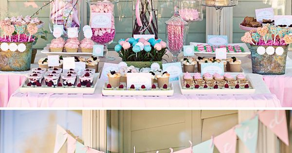garden party ideas (love the sprig-y centerpiece on the dessert table)