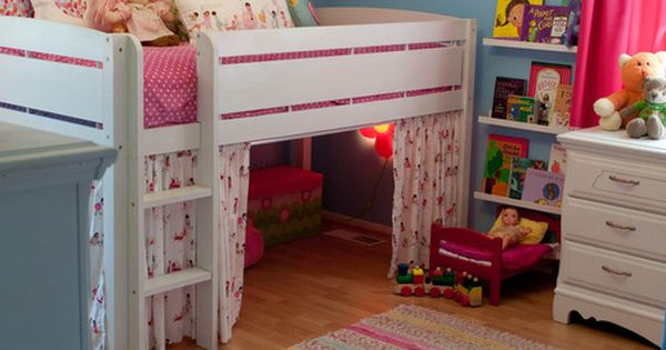Big kid room idea. Love the book displays and the under bed