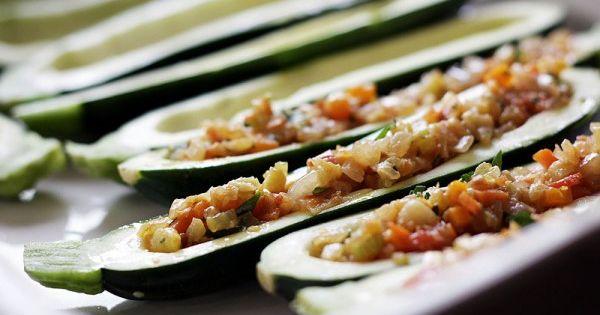 Moldovan Veggie & Feta Stuffed Zucchini | Recipe | Stuffed Zucchini ...