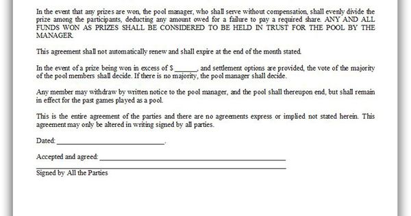 Free printable lottery pool agreement legal forms free for Lottery group contract template