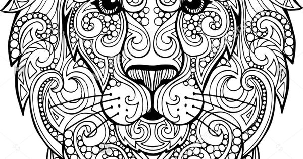 Hand Drawn Doodle Zentangle Lion Illustration Decorative