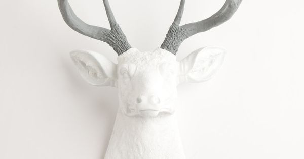 The Helena | White Resin Deer Sculpture Head | White Deer Head