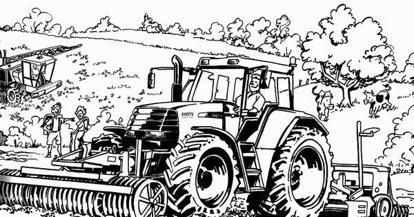 kleurplaat trekker hakselaar leuk voor tractors