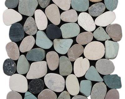 Sliced Pebble Random Sized Natural Stone Pebble Tile In Green Tan Pebble Tile Pebble Mosaic Tile Stone Mosaic Tile