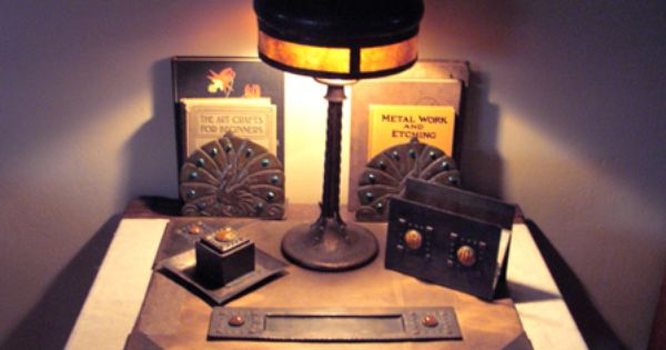 Forest Craft Guild Tigers Eye Desk Set Peacock Bookends Forest