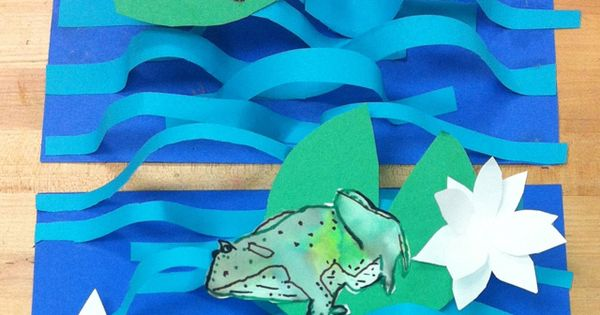 3-d paper strips for water and frogs
