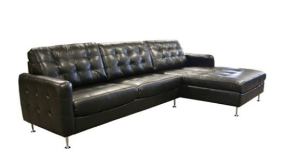 The pellisima 2 piece chaise sofa sectional is upholstered for Bellagio 100 leather chaise