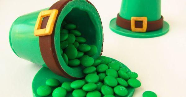 green candy melts, green food, saint patricks day crafts, Leprechaun hat, edible