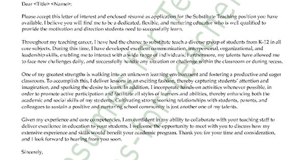 new substitute teacher cover letter. Resume Example. Resume CV Cover Letter
