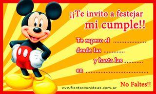 Invitación Para Imprimir De Mickey Tarjetas De Invitacion