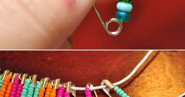 Safety Pin Bracelet. diybracelet safetypin beads