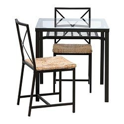 Granas Table And 2 Chairs Black Glass Ikea Ikea Dining Sets Ikea Dining Glass Dining Table