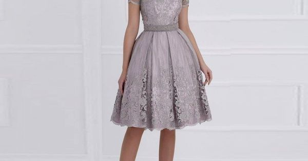 Pas cher Vintage fumée rose dentelle longueur au genou mère de robes ...