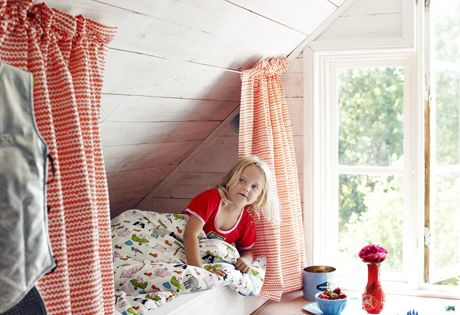 I love this idea for a kids bed especially since our upstairs