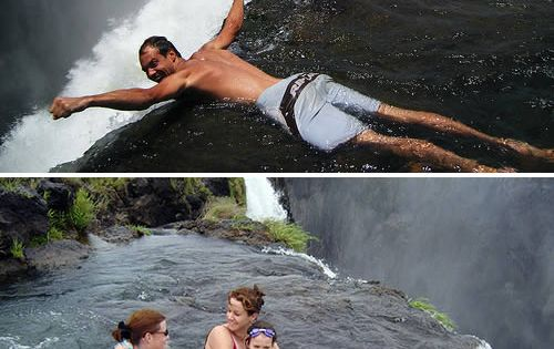 Swimming in devil 39 s pool at victoria falls in zambia for Pool designs victoria
