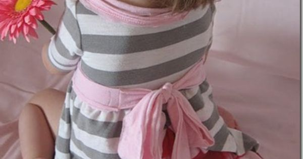 Little girls ruffle dress tutorial. It's made from old T-shirts.