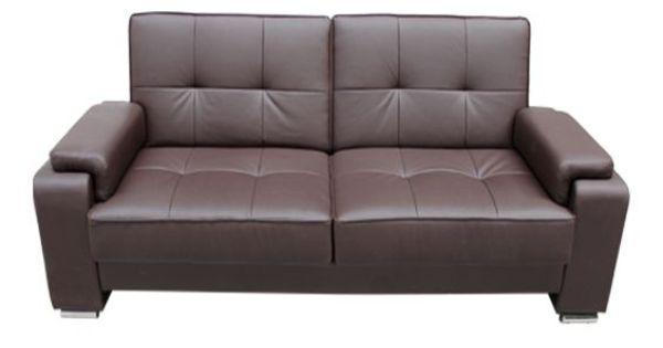 Sof cama sistema clic clac en piel textil chocolate y for Sillones de tres cuerpos