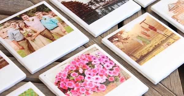 "These DIY ""Polaroid"" Photo Coasters are so cute and easy to make!!"