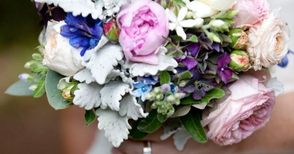Beautiful wedding bouquet - pink, white & blue flowers