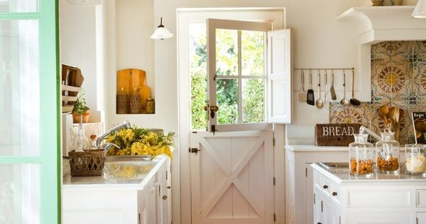 LOOOOVE this barn door Farmhouse Country Kitchen Tour - White Dutch Door