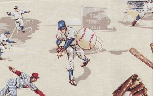 Vintage Creme Baseball Fabric By The Yard Future Little