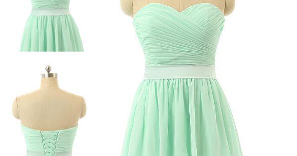 trois Style Mint Green robes de mariée courte en mousseline de ...