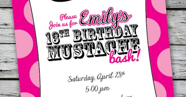 Details About MUSTACHE BASH Zebra Print Invitation 13th Birthday Party 16th 1st Any Age Color