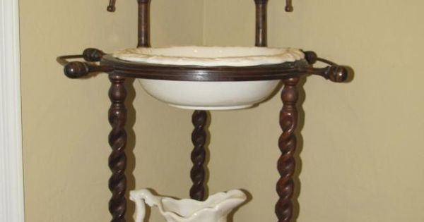 Image Detail For Antique Wooden Wash Stand W Pottery Pitcher Washbasin For Sale In