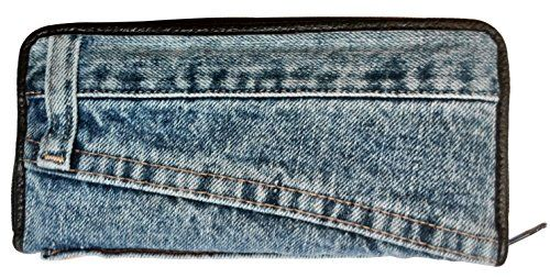 Bijoux De Ja Women Blue Denim Money Zip Around Wallet Wristlet Purse Clutch