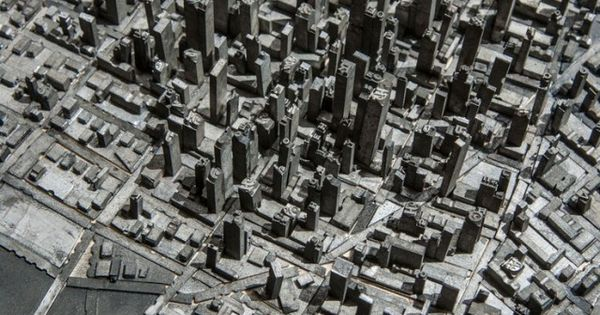 Type City - Cityscape made from letter press type by Hong Seon