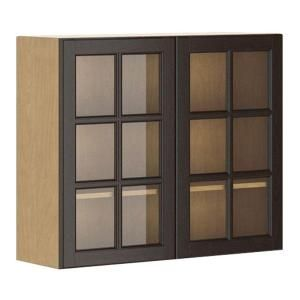 Eurostyle 36x30x12 5 In Naples Wall Cabinet In Maple Melamine And Glass Door In Dark Br Glass Kitchen Cabinet Doors Glass Cabinet Doors Kitchen Wall Cabinets