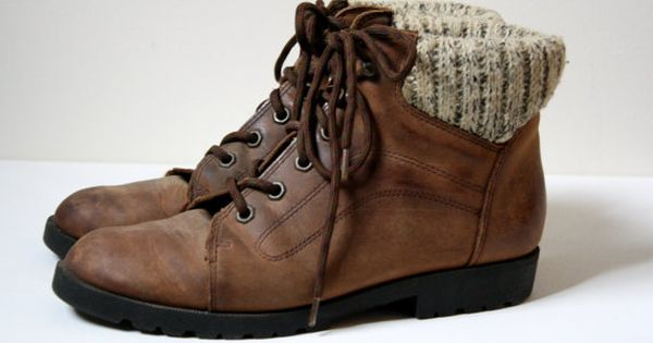 Brown Leather Lace up hiking boots with sweater knit detail ...