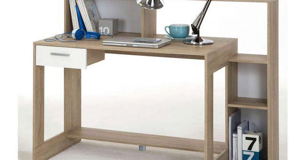 Bureau 1 tiroir laurenz coloris ch ne et blanc vente de meuble informatique - Vente flash conforama ...
