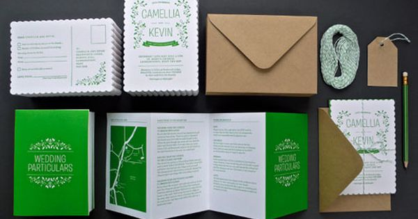Great Green Wedding Invitation Suite.