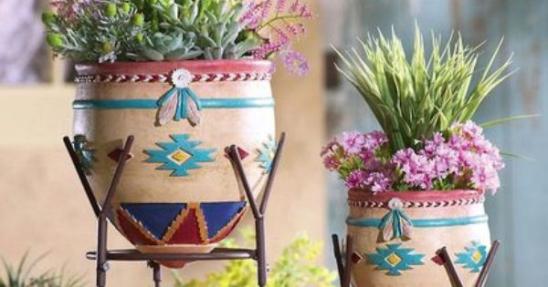 Southwestern Planters Amp Stands With Adobe Look Design Set