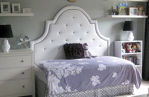 day bed girls room idea. full size headboard and twin bed for