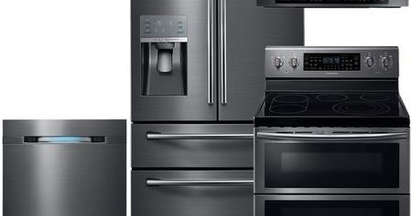 Samsung Appliance 602597 Black Stainless Steel Kitchen Appli Black Stainless Steel Kitchen Kitchen Appliance Packages Samsung Appliances