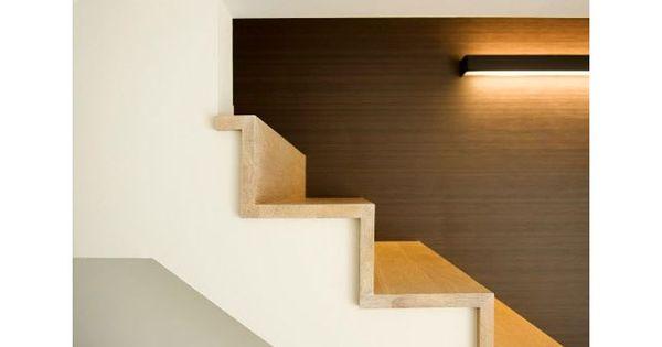 Trap hout indirecte verlichting binnendeuren en trappen - Moderne trapmodel ...