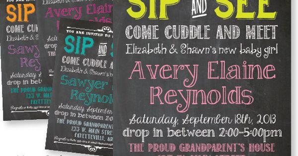 Sip & See Baby Shower Invitation. Chalkboard design, Choose colors. PRINTABLE PDF/JPG