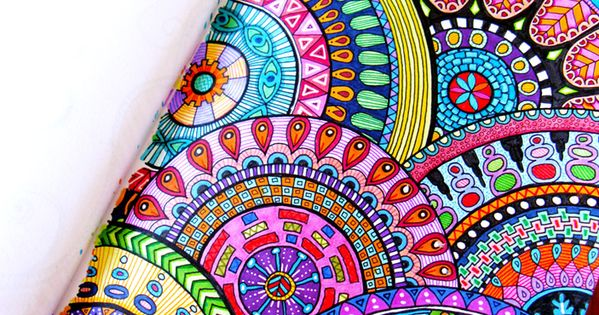 PATTERN Beautiful colored zentangle doodles from HelloAngelCreative.com -- amazing both in color