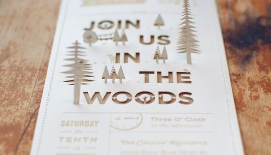 Oh So Beautiful Paper: Christine + Ian's Woodland Wedding Invitations - laser
